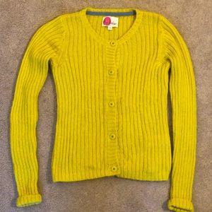 Boden girls yellow cardigan sweater size 9-10